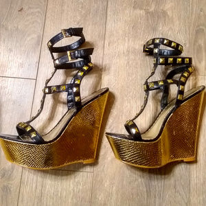 Bebe Gold Wedge Studded Strappy Sandals